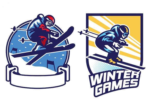 スキースポーツゲームのロゴデザインのセット