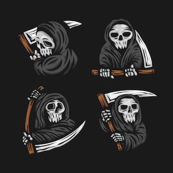 鎌のロゴのイラストと頭蓋骨の死神のセット