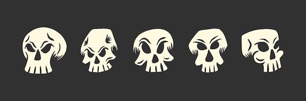 T-셔츠 또는 문신 디자인을 위한 해골 머리 그림 세트
