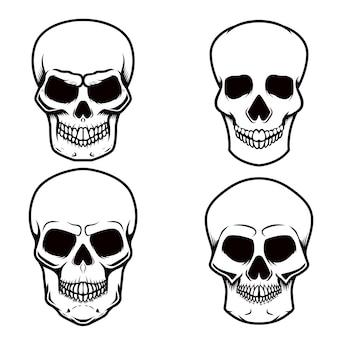 白い背景の上の頭蓋骨のイラストのセットです。ロゴ、ラベル、エンブレム、サイン、ポスター、tシャツの要素。画像