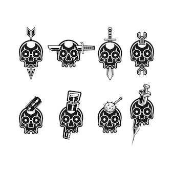 いくつかのツールのロゴセットと頭蓋骨のセット