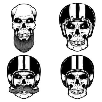 バイカーヘルメットの頭蓋骨のセットです。ロゴ、ラベル、エンブレム、記号の要素。図