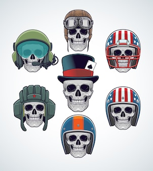 군사, 스포츠 및 레이싱 헬멧을 착용 한 두개골 세트