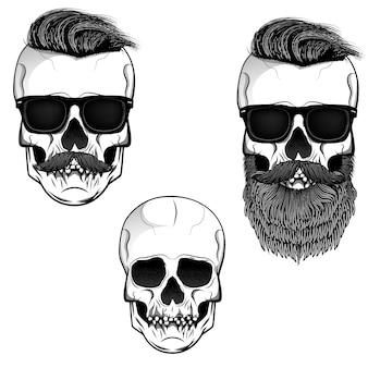 Набор из черепов с бородой, усами и солнцезащитные очки. элементы для печати футболки, шаблон плаката. иллюстрации.