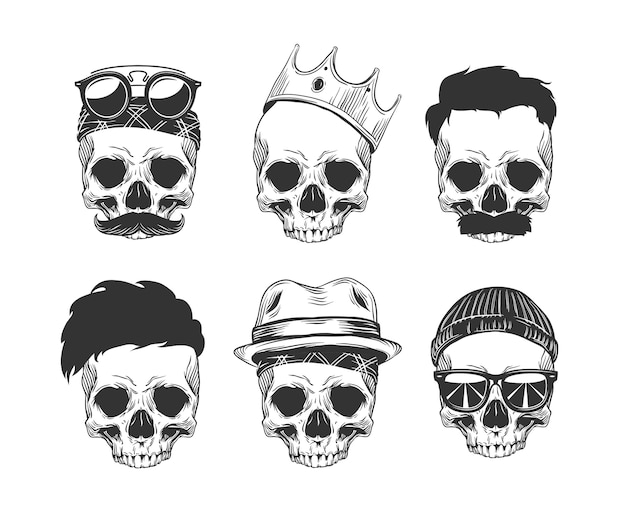 Набор черепов с прической и усами в короне, шляпе, солнцезащитных очках и бандане, изолированных на белом фоне