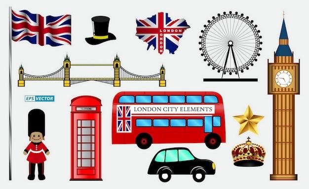 Londoneps 벡터의 스카이 라인 또는 도시 풍경의 집합