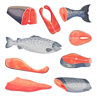 レッドサーモン魚のスライスした新鮮な作品のセット