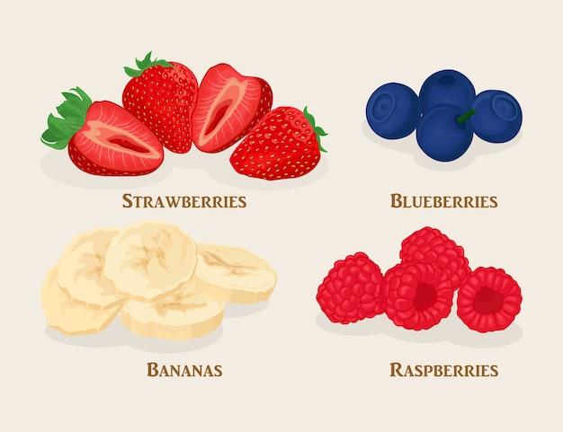 スライスしたフルーツとベリーのセット。バナナ、イチゴ、ラズベリー、明るい背景にブルーベリー。