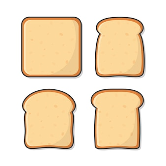Набор ломтиков тостового хлеба.