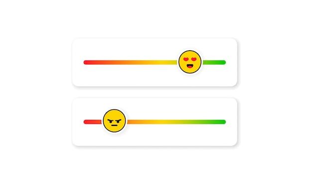 Набор смайликов слайдера для социальных сетей. смайлик обратной связи. отзывы или рейтинговая шкала со смайликами, представляющими разные эмоции. рейтинг уровня удовлетворенности. обзор клиентов.