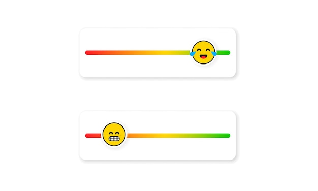 소셜 미디어용 슬라이더 이모티콘 세트입니다. 피드백 이모티콘. 다른 감정을 나타내는 이모티콘으로 리뷰 또는 평가 척도. 만족도 평가 수준입니다. 고객 개요.