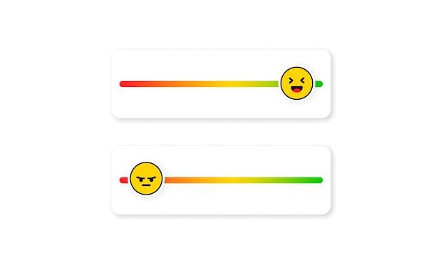 소셜 미디어용 슬라이더 이모티콘 세트입니다. 슬라이더 등급 플랫. 행복한, 슬픈, 화난 얼굴, 이모티콘 순위 시스템. 고객 피드백, 만족.