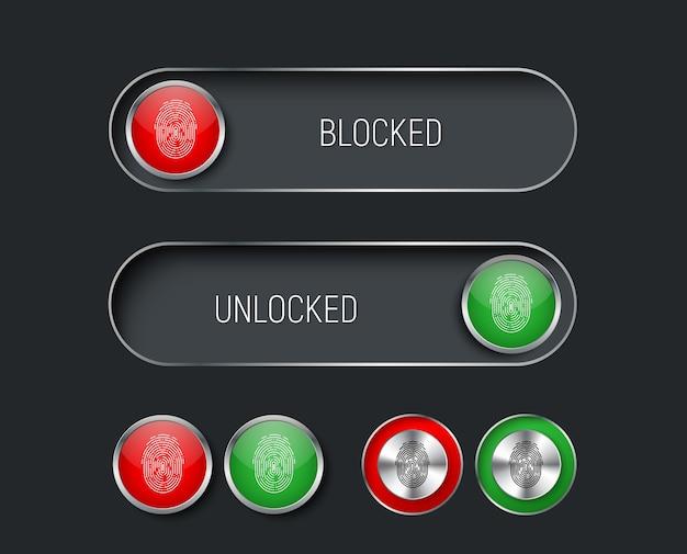 赤と緑の色のスライダー、スイッチ、ボタンのセット