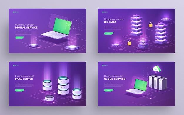 Набор слайдов, главных страниц или баннеров цифровых технологий. защита данных, веб-хостинг, серверная, облачное резервное копирование, топология сети. изометрические ультрафиолетовые иллюстрации