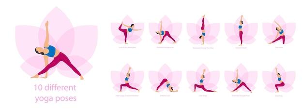요가 요가 복잡한 피트니스 운동을 하는 날씬한 낚시를 좋아하는 젊은 여성 세트