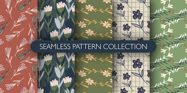 ビンテージスタイルの小さな花のシームレスパターンのセットです。 abstrct花の壁紙コレクション。
