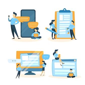 コンピューターやスマートフォンに取り組んでいる小さな人々のセットです。チームワークとインターネット接続のアイデア。分離ベクトルフラット図