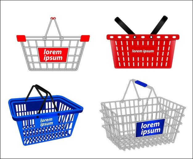小さな買い物かごまたはワイヤー買い物かごまたは金属容器の買い物かごのセット