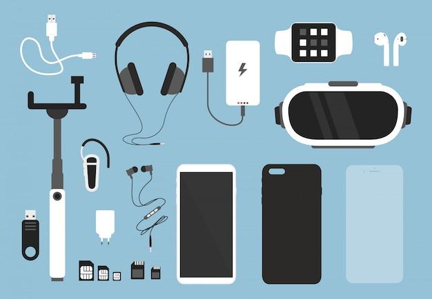 스마트 폰 및 액세서리 세트입니다. 플랫 만화 스타일의 스마트 폰을위한 케이스, 충전기, 헤드폰 및 보호 유리, 덮개 및 기타 물건이있는 전화.