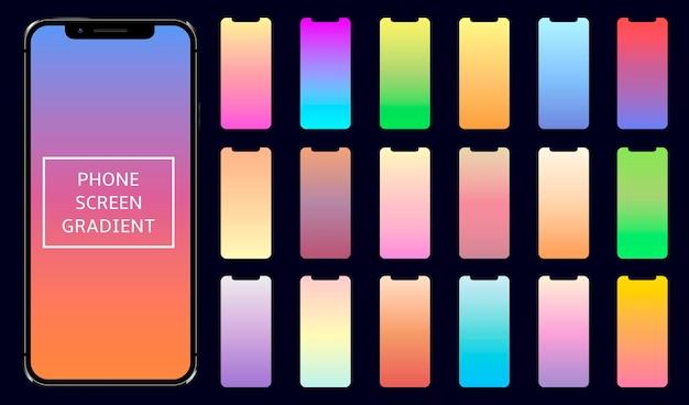 スマートフォンの画面のグラデーションのセット