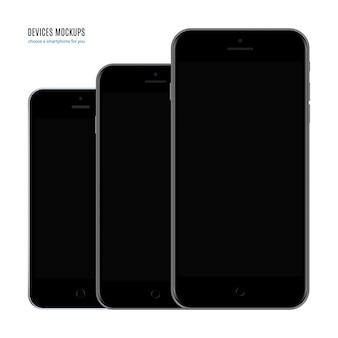흰색 배경에 격리된 빈 화면 보호기가 있는 스마트폰 검은색 세트입니다. 현실적이고 상세한 휴대 전화 목업