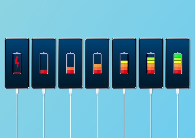 バッテリー充電レベルインジケーターとusb接続を備えたスマートフォンのセット