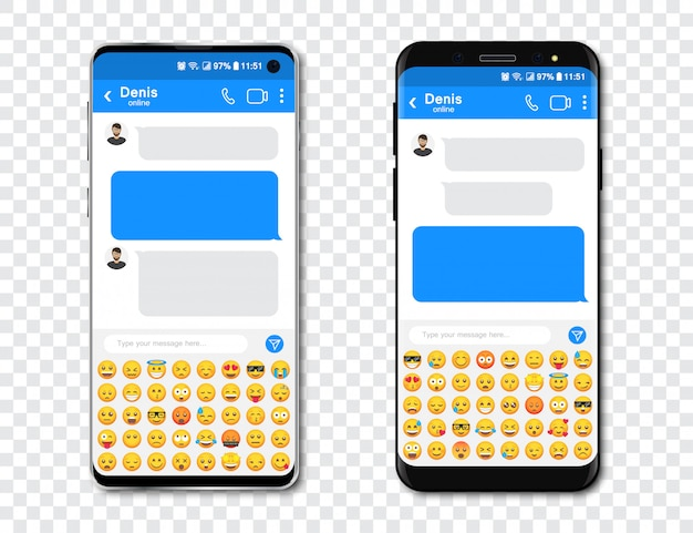 Набор смартфонов с пустой чат мессенджер и смайликов. шаблон с сообщением пузырьков в смартфоне с emoji