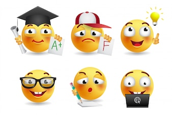 Set of smileys realistic illustration