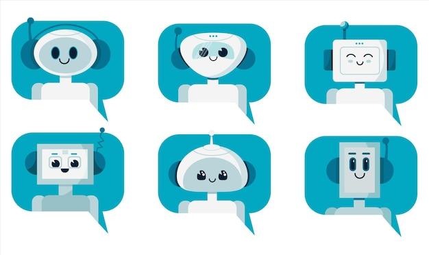 연설 거품에 웃는 귀여운 로봇 채팅 봇의 집합입니다. 지원 서비스 개념입니다.
