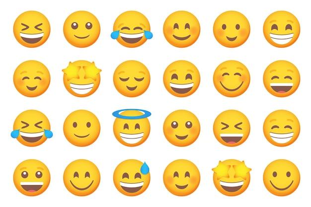 웃는 이모티콘 미소 아이콘의 집합입니다. 만화 이모티콘 세트입니다. 벡터 이모티콘 세트