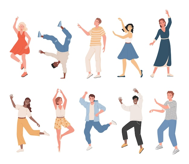 Набор улыбающихся людей в повседневной одежде, танцующих, чувствуя себя позитивно