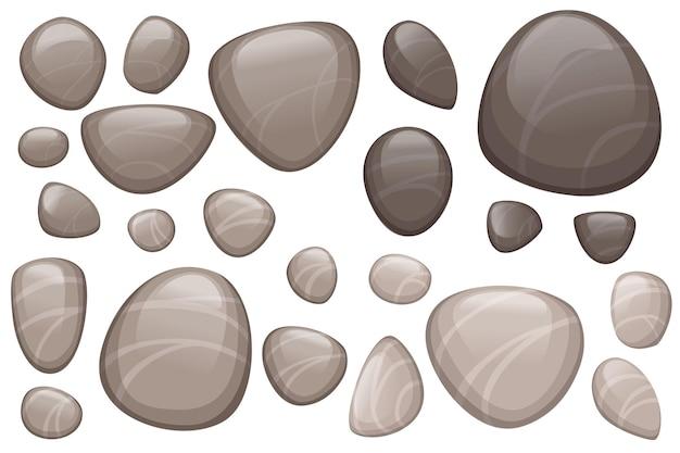 滑らかな石や小石の白い背景で隔離のフラットベクトルイラストのセット