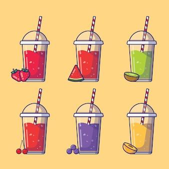 スムージーと果物のイラストのセット