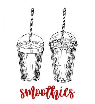 스무디의 집합입니다. 스케치 스타일의 슈퍼 푸드 및 건강 또는 해독 다이어트 식품 개념.