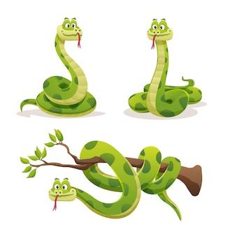 さまざまなポーズのヘビのセット漫画イラスト