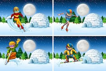 Набор снежной активности ночью