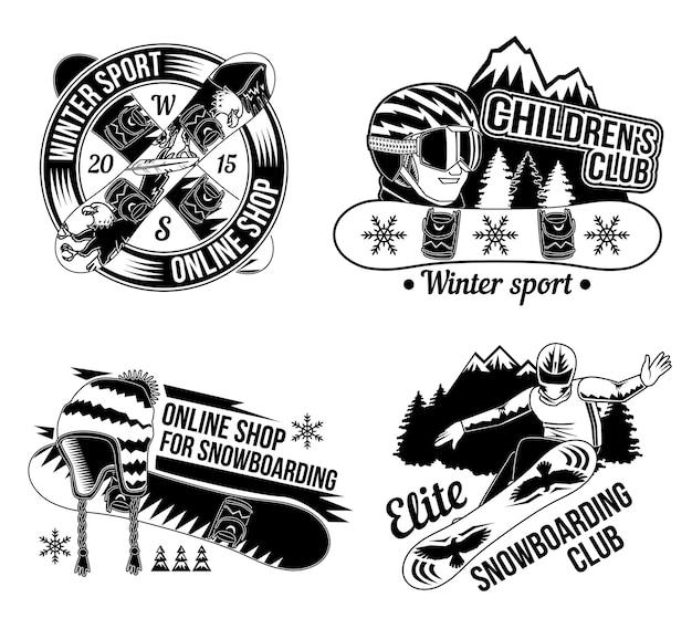 スノーボードのエンブレム、ロゴのセット。白で隔離
