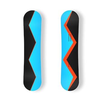 スキーリゾートの写真の山の活動のためのスノーボードのセットスノーボードボードフラットアイコンベクトル
