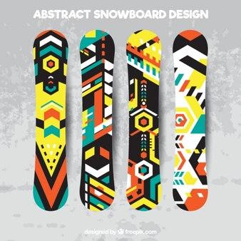 Набор сноубордов в геометрическом стиле