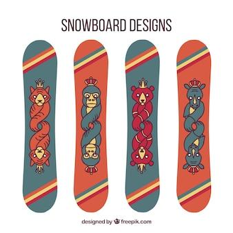 創造的な動物のデザインとスノーボードのセット