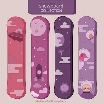 空間要素とスノーボードのセット