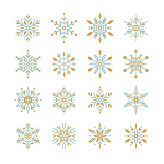 Set of Snowflakes Christmas design vector