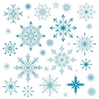 雪片のセット白い背景の上の青い雪片のコレクション冬のアイコンのデザイン