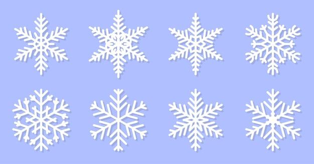 雪片のイラストのセットです。クリスマスの飾り。