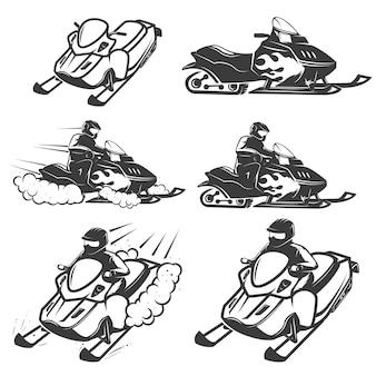 Набор снегоходов на белом фоне. элементы для логотипа, этикетки, эмблемы, знака. иллюстрация
