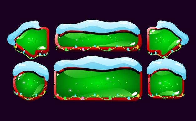 Набор снежных и глянцевых кнопок графического интерфейса
