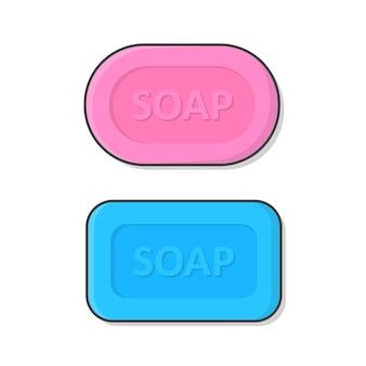 石鹸イラストのセット。泡のイラストと石鹸のバー。ソープフラット