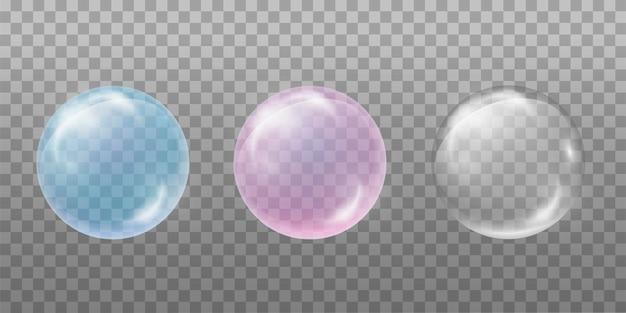 石鹸水泡のセット。透明、青、ピンク。飲み物、炭酸飲料、肌用化粧品のデザイン要素。透明な背景に分離されています。