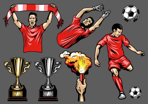 Набор футбольных элементов и игроков