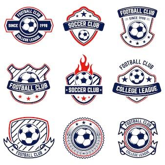 축구, 축구 엠 블 럼 세트 로고, 라벨, 엠 블 럼, 기호에 대 한 요소입니다. 삽화